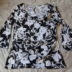 NY & Co. Black & White Floral Cowl Neck Blouse